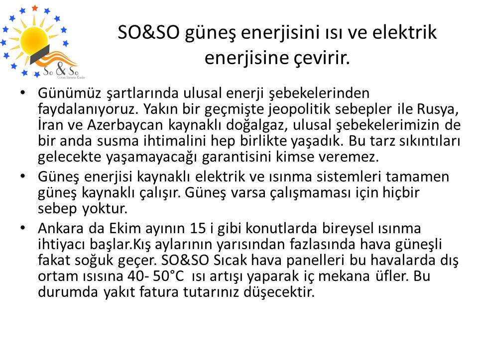 SO&SO güneş enerjisini ısı ve elektrik enerjisine çevirir. Günümüz şartlarında ulusal enerji şebekelerinden faydalanıyoruz. Yakın bir geçmişte jeopoli