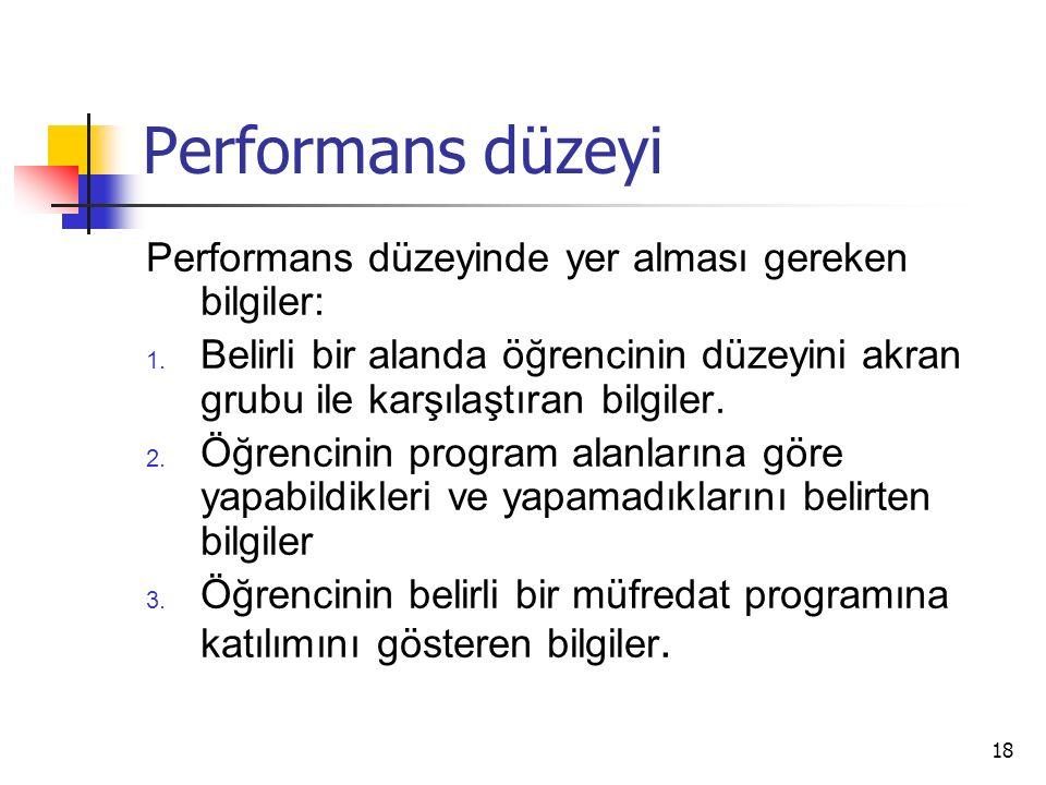 18 Performans düzeyi Performans düzeyinde yer alması gereken bilgiler: 1.
