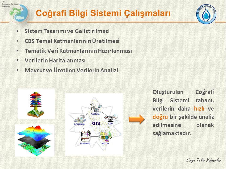 21 Coğrafi Bilgi Sistemi Çalışmaları Sistem Tasarımı ve Geliştirilmesi CBS Temel Katmanlarının Üretilmesi Tematik Veri Katmanlarının Hazırlanması Veri