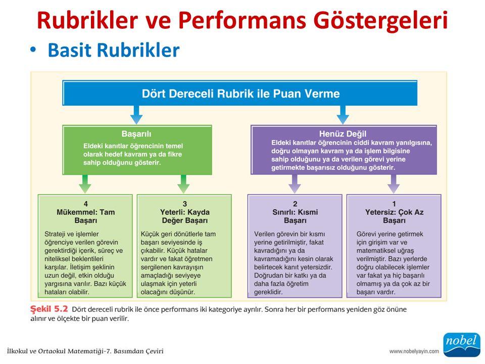 Rubrikler ve Performans Göstergeleri Basit Rubrikler
