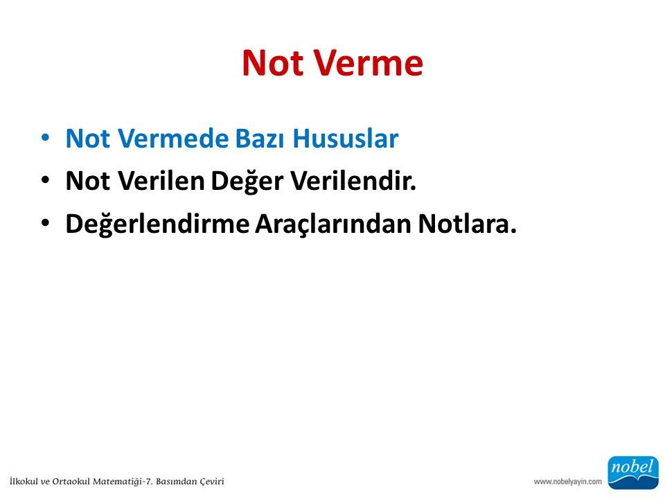 Not Verme Not Vermede Bazı Hususlar Not Verilen Değer Verilendir.