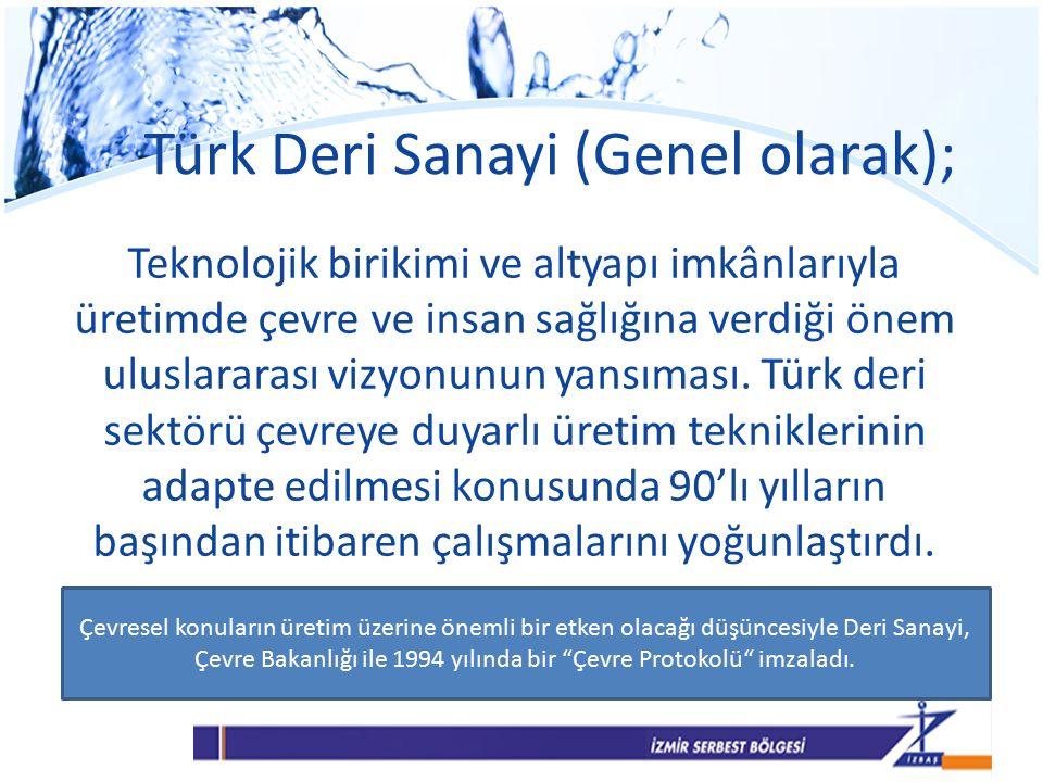Türk Deri Sanayi (Genel olarak); Teknolojik birikimi ve altyapı imkânlarıyla üretimde çevre ve insan sağlığına verdiği önem uluslararası vizyonunun yansıması.