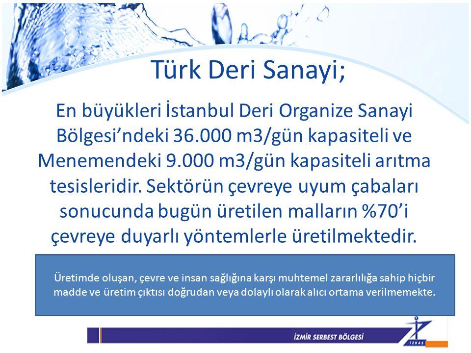 Türk Deri Sanayi; En büyükleri İstanbul Deri Organize Sanayi Bölgesi'ndeki 36.000 m3/gün kapasiteli ve Menemendeki 9.000 m3/gün kapasiteli arıtma tesisleridir.