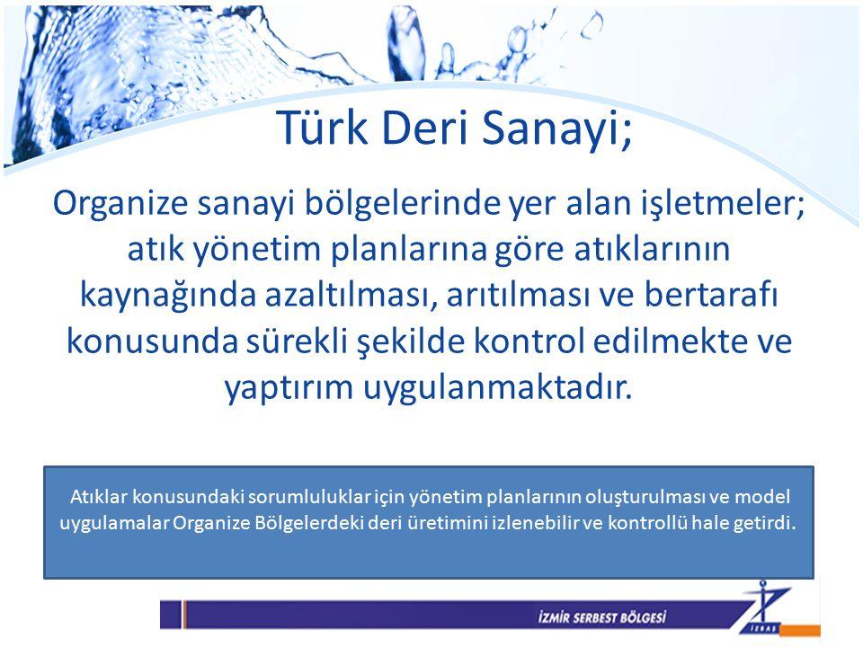 Türk Deri Sanayi; Organize sanayi bölgelerinde yer alan işletmeler; atık yönetim planlarına göre atıklarının kaynağında azaltılması, arıtılması ve bertarafı konusunda sürekli şekilde kontrol edilmekte ve yaptırım uygulanmaktadır.