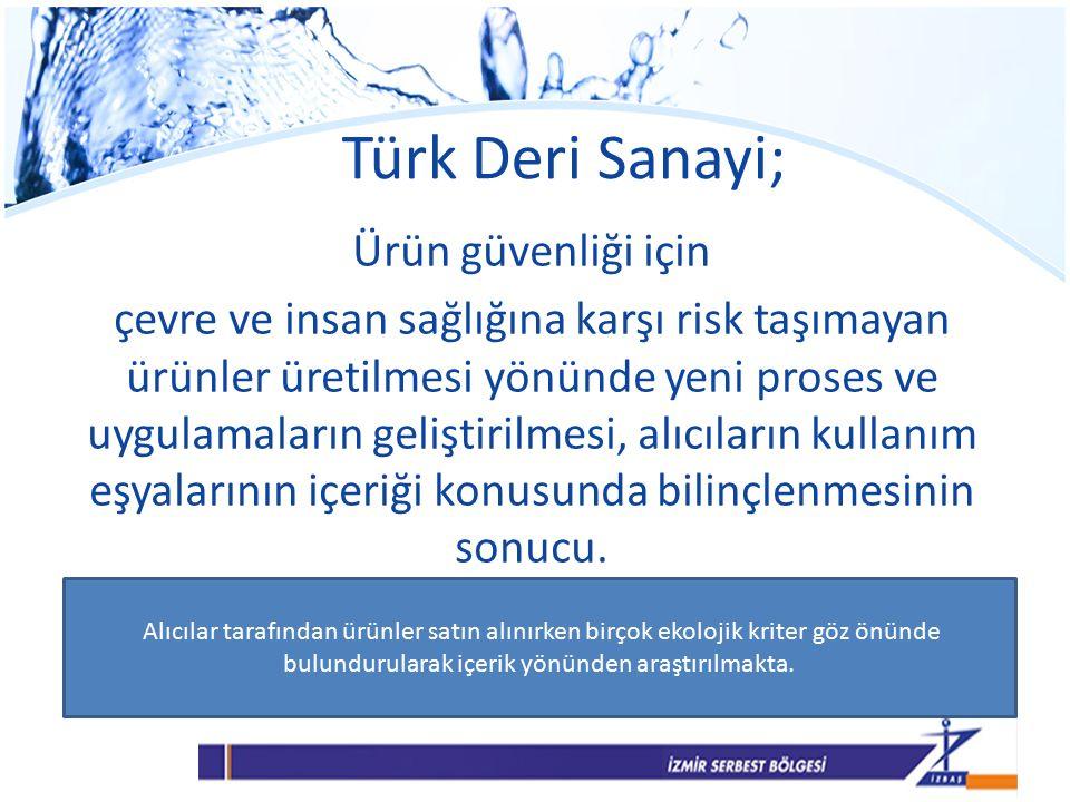 Türk Deri Sanayi; Ürün güvenliği için çevre ve insan sağlığına karşı risk taşımayan ürünler üretilmesi yönünde yeni proses ve uygulamaların geliştirilmesi, alıcıların kullanım eşyalarının içeriği konusunda bilinçlenmesinin sonucu.