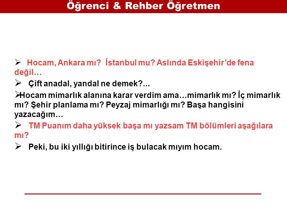 Öğrenci & Rehber Öğretmen  Hocam, Ankara mı. İstanbul mu.