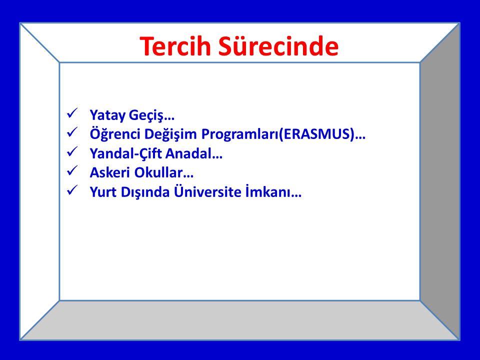 Tercih Sürecinde Yatay Geçiş… Öğrenci Değişim Programları(ERASMUS)… Yandal-Çift Anadal… Askeri Okullar… Yurt Dışında Üniversite İmkanı…