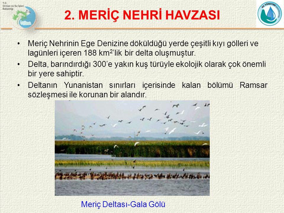 Meriç Nehrinin Ege Denizine döküldüğü yerde çeşitli kıyı gölleri ve lagünleri içeren 188 km 2 'lik bir delta oluşmuştur.