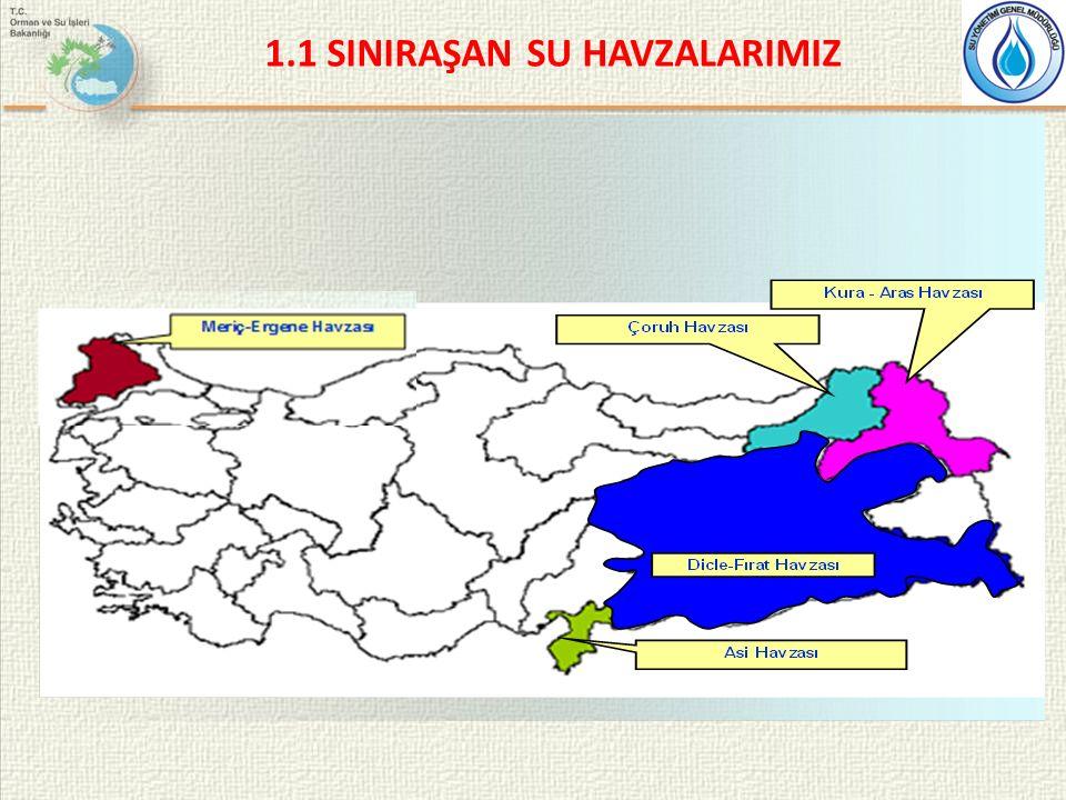 Sınıraşan Su Havzası Adı Türkiye ile Birlikte Kıyıdaş Ülkeler Havzanın tahmini su potansiyeli (Milyar m 3 ) Türkiye'nin Potansiyele Katkısı (Milyar m3) Meriç – ErgeneBulgaristan Yunanistan 8,501,33 AsiSuriye Lübnan 2,401,17 ÇoruhGürcistan6,806,54 Kura – Aras Gürcistan Ermenistan İran Azerbaycan 24,005,72 Dicle – FıratSuriye Irak 85,0053,00