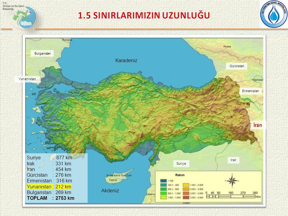Karadeniz Akdeniz Bulgaristan Yunanistan Gürcistan Ermenistan Suriye Irak İran Suriye : 877 km Irak :331 km İran :454 km Gürcistan :276 km Ermenistan : 316 km Yunanistan :212 km Bulgaristan : 269 km TOPLAM :2753 km