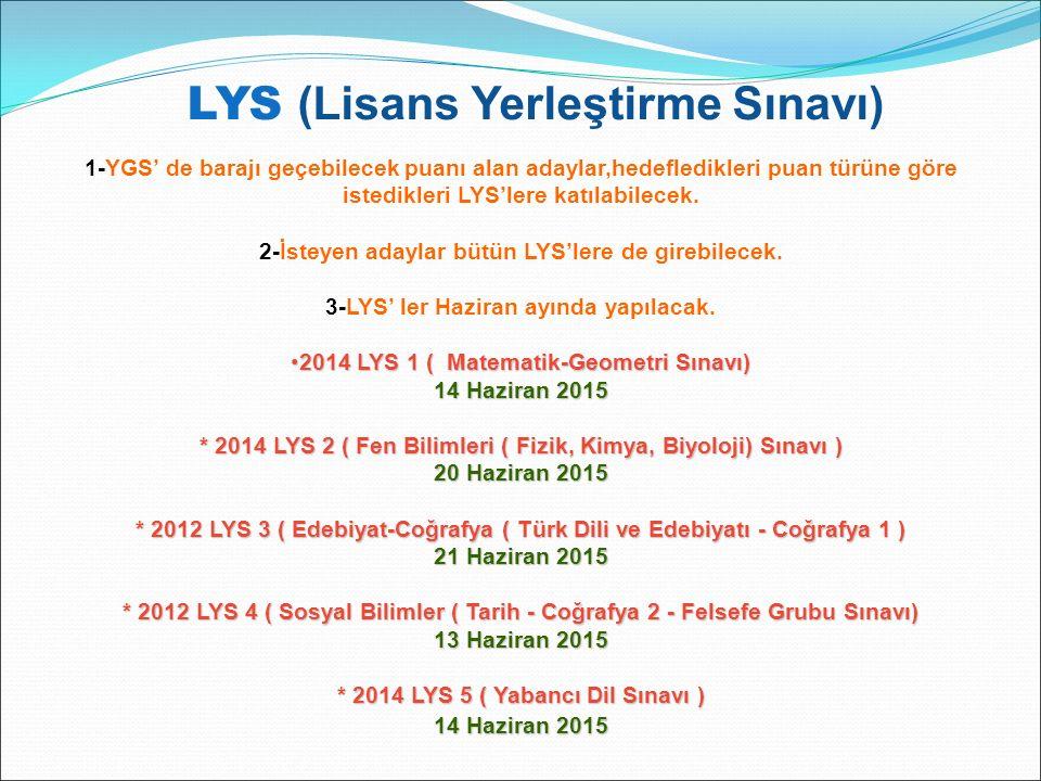 LYS (Lisans Yerleştirme Sınavı) 1-YGS' de barajı geçebilecek puanı alan adaylar,hedefledikleri puan türüne göre istedikleri LYS'lere katılabilecek. 2-