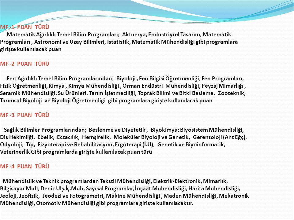MF -1 PUAN TÜRÜ Matematik Ağırlıklı Temel Bilim Programları; Aktüerya, Endüstriyrel Tasarım, Matematik Programları, Astronomi ve Uzay Bilimleri, İstat