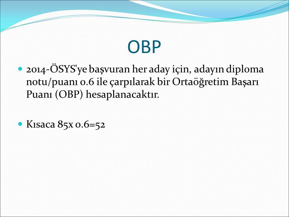 OBP 2014-ÖSYS'ye başvuran her aday için, adayın diploma notu/puanı 0.6 ile çarpılarak bir Ortaöğretim Başarı Puanı (OBP) hesaplanacaktır. Kısaca 85x 0