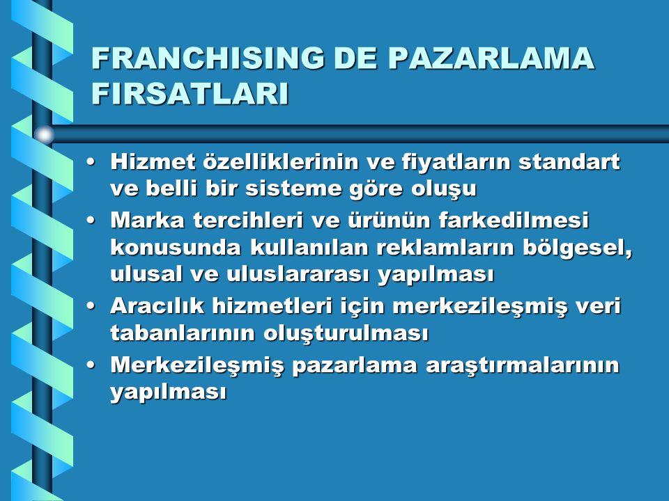 FRANCHISING DE PAZARLAMA FIRSATLARI Hizmet özelliklerinin ve fiyatların standart ve belli bir sisteme göre oluşuHizmet özelliklerinin ve fiyatların st