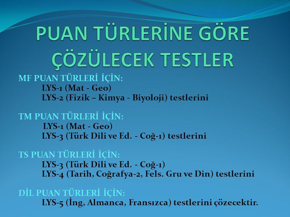 MF PUAN TÜRLERİ İÇİN: LYS-1 (Mat - Geo) LYS-2 (Fizik – Kimya - Biyoloji) testlerini TM PUAN TÜRLERİ İÇİN: LYS-1 (Mat - Geo) LYS-3 (Türk Dili ve Ed.