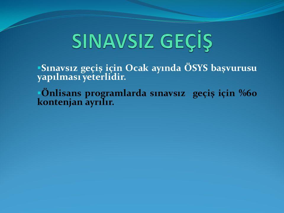  Sınavsız geçiş için Ocak ayında ÖSYS başvurusu yapılması yeterlidir.
