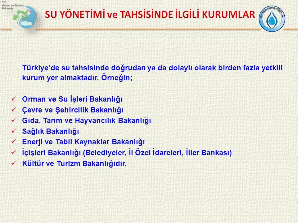 Türkiye'de su tahsisinde doğrudan ya da dolaylı olarak birden fazla yetkili kurum yer almaktadır. Örneğin; Orman ve Su İşleri Bakanlığı Çevre ve Şehir