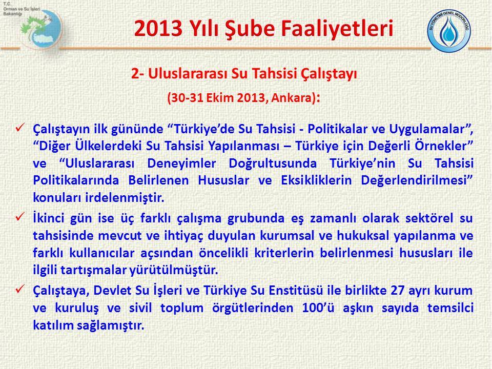 """2- Uluslararası Su Tahsisi Çalıştayı (30-31 Ekim 2013, Ankara) : Çalıştayın ilk gününde """"Türkiye'de Su Tahsisi - Politikalar ve Uygulamalar"""", """"Diğer Ü"""