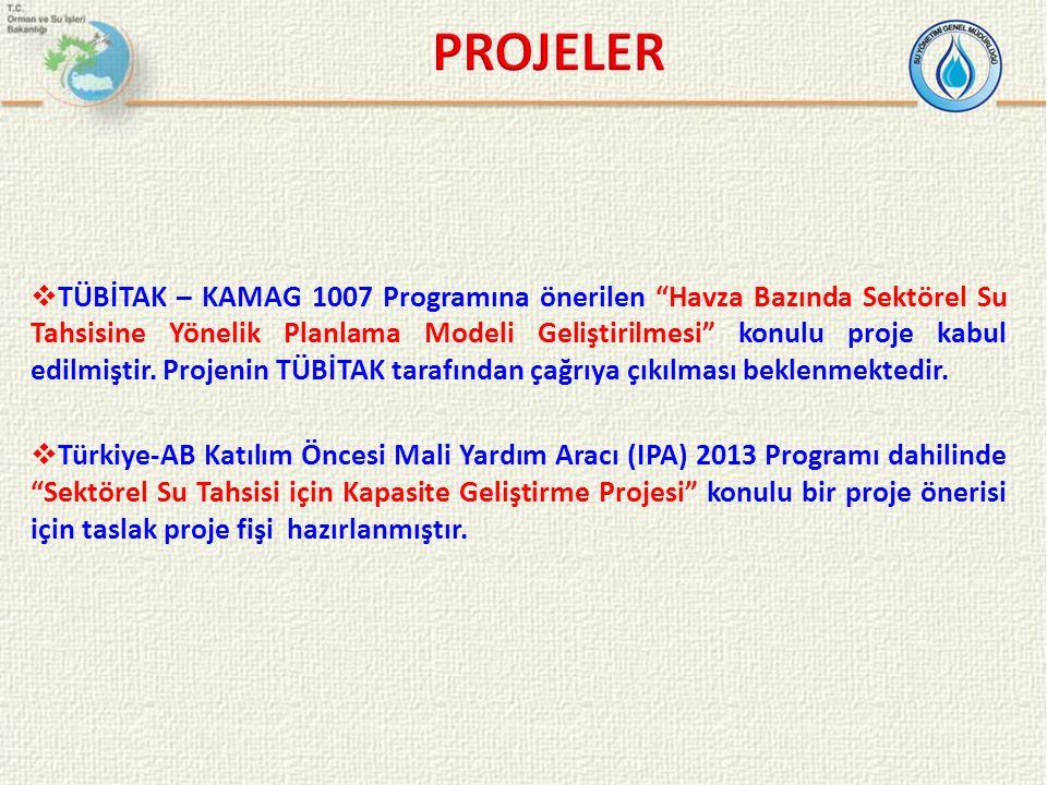 """ TÜBİTAK – KAMAG 1007 Programına önerilen """"Havza Bazında Sektörel Su Tahsisine Yönelik Planlama Modeli Geliştirilmesi"""" konulu proje kabul edilmiştir."""