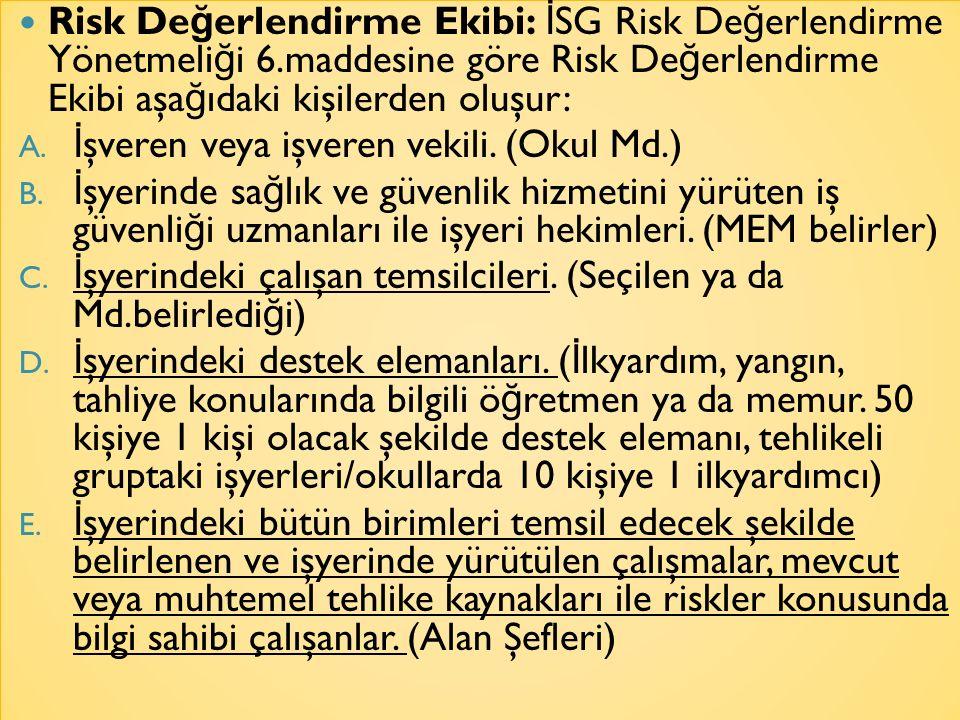 Risk De ğ erlendirme Ekibi: İ SG Risk De ğ erlendirme Yönetmeli ğ i 6.maddesine göre Risk De ğ erlendirme Ekibi aşa ğ ıdaki kişilerden oluşur: A. İ şv