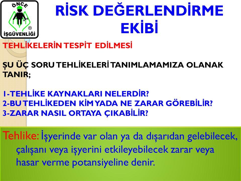 R İ SK DE Ğ ERLEND İ RME EK İ B İ Tehlike: İ şyerinde var olan ya da dışarıdan gelebilecek, çalışanı veya işyerini etkileyebilecek zarar veya hasar ve