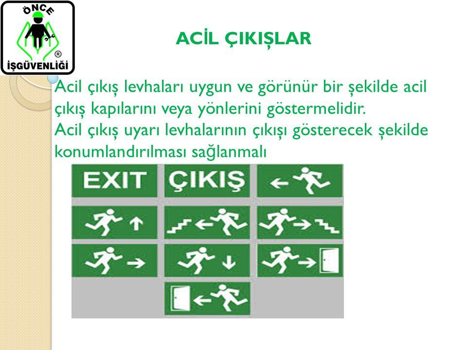 AC İ L ÇIKIŞLAR Acil çıkış levhaları uygun ve görünür bir şekilde acil çıkış kapılarını veya yönlerini göstermelidir. Acil çıkış uyarı levhalarının çı