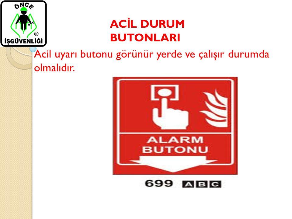 AC İ L DURUM BUTONLARI Acil uyarı butonu görünür yerde ve çalışır durumda olmalıdır.
