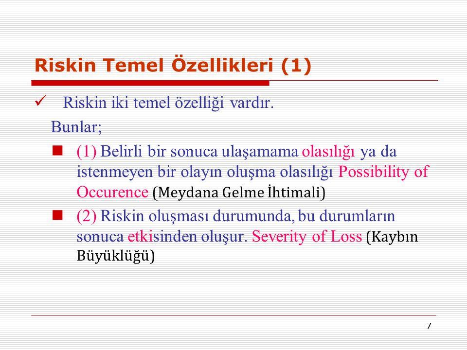 77 Riskin Temel Özellikleri (1) Riskin iki temel özelliği vardır. Bunlar; (1) Belirli bir sonuca ulaşamama olasılığı ya da istenmeyen bir olayın oluşm