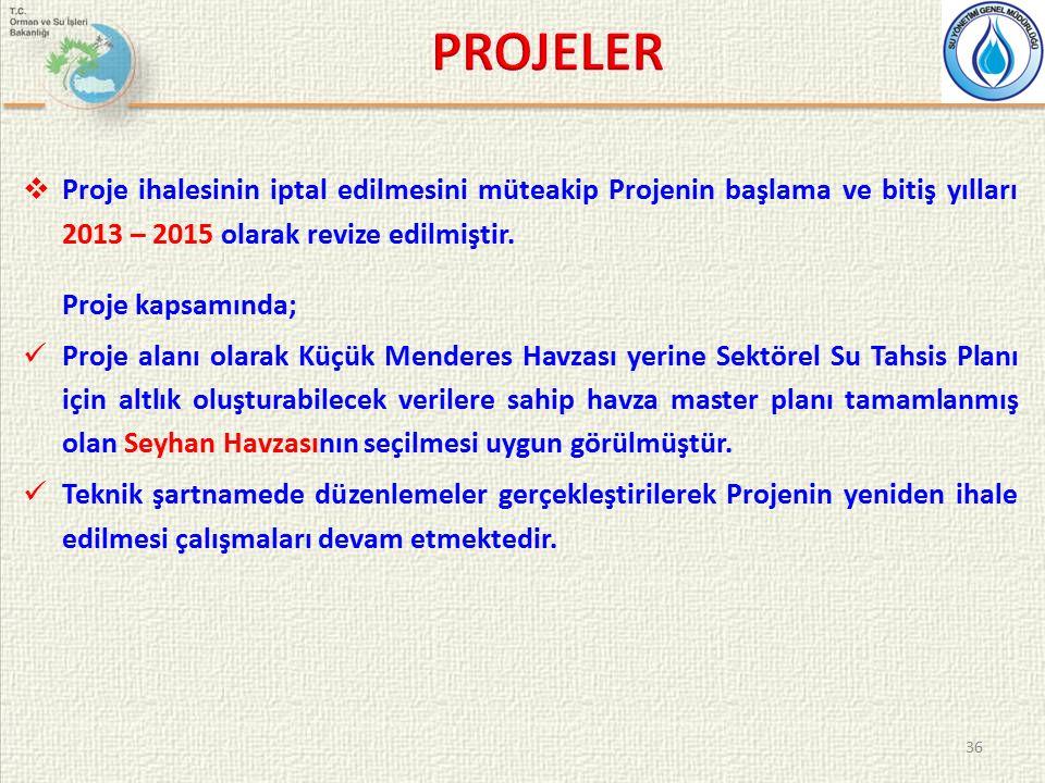  Proje ihalesinin iptal edilmesini müteakip Projenin başlama ve bitiş yılları 2013 – 2015 olarak revize edilmiştir.