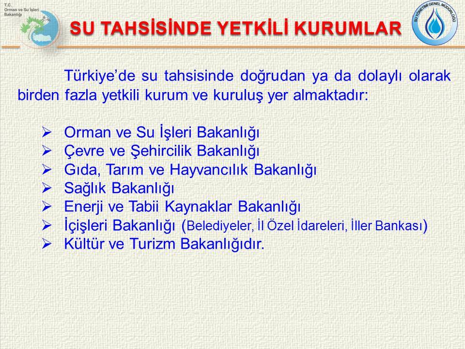 SU TAHSİSİNDE YETKİLİ KURUMLAR Türkiye'de su tahsisinde doğrudan ya da dolaylı olarak birden fazla yetkili kurum ve kuruluş yer almaktadır:  Orman ve Su İşleri Bakanlığı  Çevre ve Şehircilik Bakanlığı  Gıda, Tarım ve Hayvancılık Bakanlığı  Sağlık Bakanlığı  Enerji ve Tabii Kaynaklar Bakanlığı  İçişleri Bakanlığı ( Belediyeler, İl Özel İdareleri, İller Bankası )  Kültür ve Turizm Bakanlığıdır.