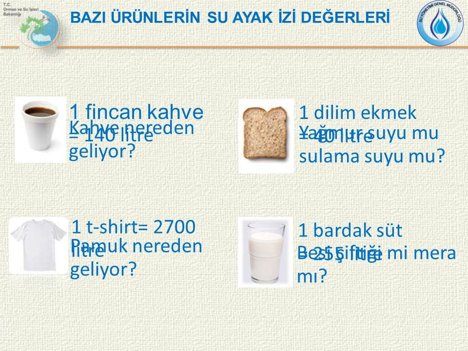 1 dilim ekmek = 40 litre 1 bardak süt = 255 litre 1 t-shirt= 2700 litre BAZI ÜRÜNLERİN SU AYAK İZİ DEĞERLERİ 1 fincan kahve = 140 litre Kahve nereden