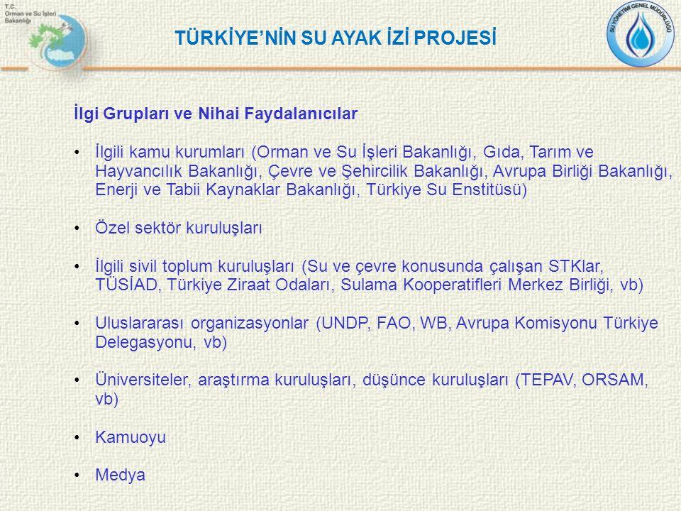 İlgi Grupları ve Nihai Faydalanıcılar İlgili kamu kurumları (Orman ve Su İşleri Bakanlığı, Gıda, Tarım ve Hayvancılık Bakanlığı, Çevre ve Şehircilik B