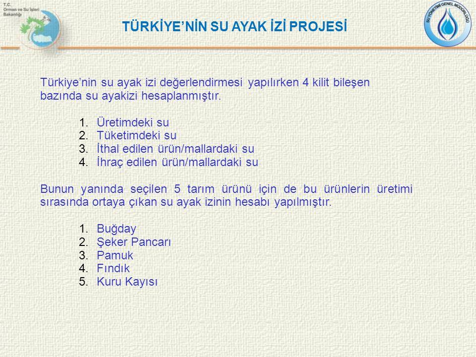 Türkiye'nin su ayak izi değerlendirmesi yapılırken 4 kilit bileşen bazında su ayakizi hesaplanmıştır. 1.Üretimdeki su 2.Tüketimdeki su 3.İthal edilen