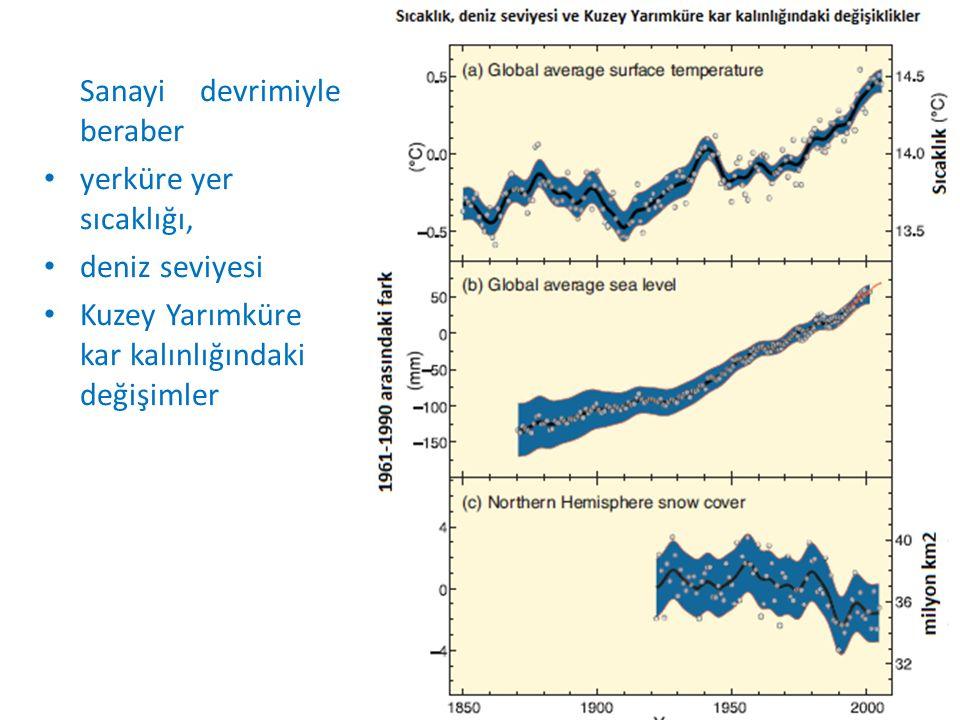 Sanayi devrimiyle beraber yerküre yer sıcaklığı, deniz seviyesi Kuzey Yarımküre kar kalınlığındaki değişimler