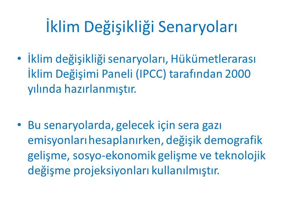 İklim Değişikliği Senaryoları İklim değişikliği senaryoları, Hükümetlerarası İklim Değişimi Paneli (IPCC) tarafından 2000 yılında hazırlanmıştır.