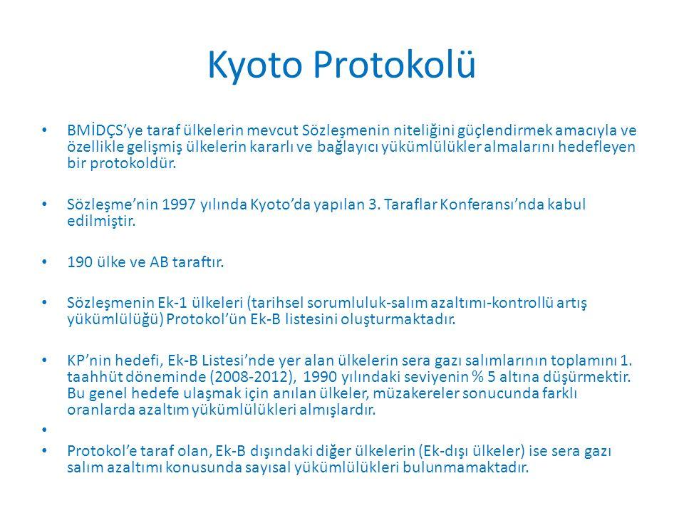 Kyoto Protokolü BMİDÇS'ye taraf ülkelerin mevcut Sözleşmenin niteliğini güçlendirmek amacıyla ve özellikle gelişmiş ülkelerin kararlı ve bağlayıcı yükümlülükler almalarını hedefleyen bir protokoldür.