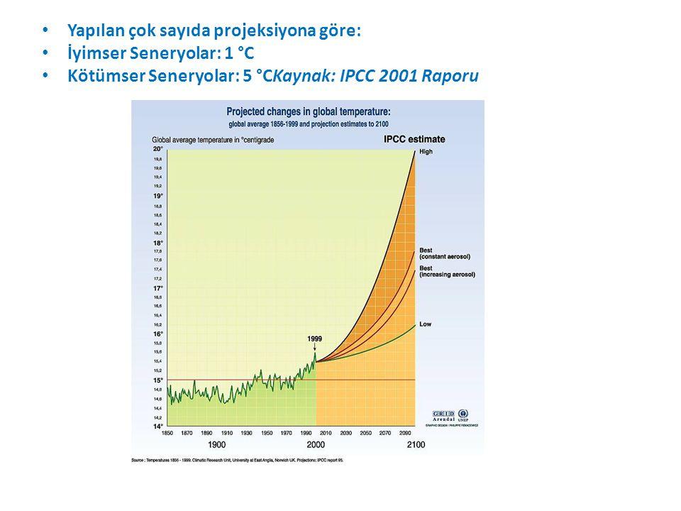 Yapılan çok sayıda projeksiyona göre: İyimser Seneryolar: 1 °C Kötümser Seneryolar: 5 °CKaynak: IPCC 2001 Raporu