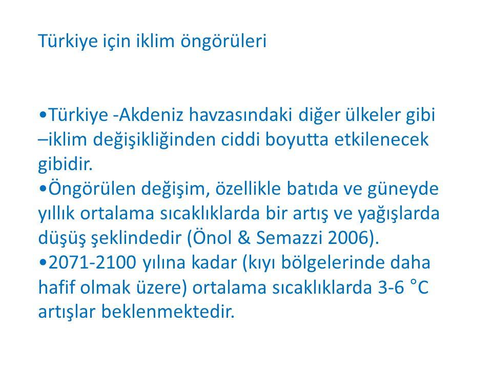 Türkiye için iklim öngörüleri Türkiye -Akdeniz havzasındaki diğer ülkeler gibi –iklim değişikliğinden ciddi boyutta etkilenecek gibidir.