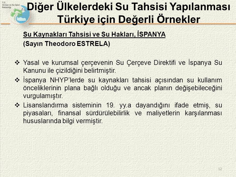 Diğer Ülkelerdeki Su Tahsisi Yapılanması Türkiye için Değerli Örnekler Su Kaynakları Tahsisi ve Su Hakları, İSPANYA (Sayın Theodoro ESTRELA)  Yasal ve kurumsal çerçevenin Su Çerçeve Direktifi ve İspanya Su Kanunu ile çizildiğini belirtmiştir.