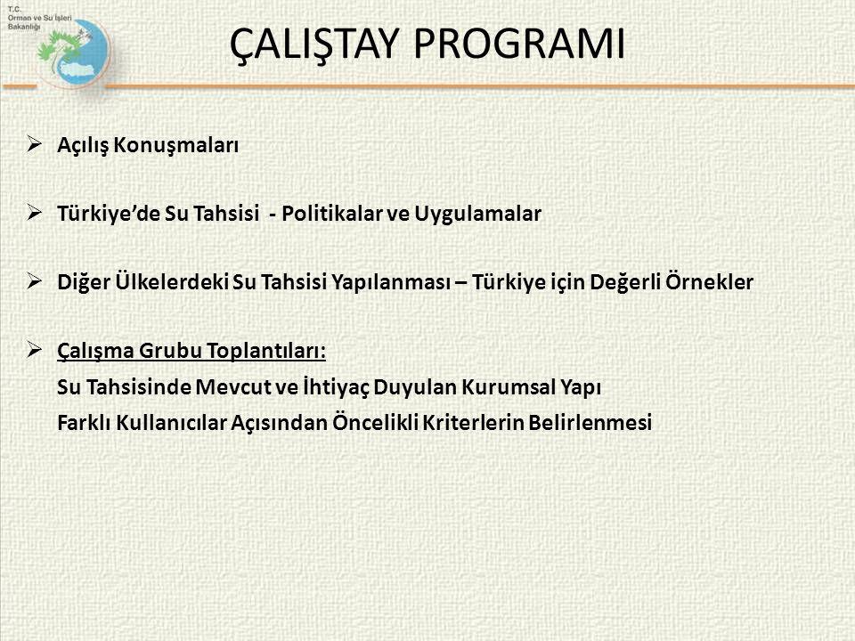 ÇALIŞTAY PROGRAMI  Açılış Konuşmaları  Türkiye'de Su Tahsisi - Politikalar ve Uygulamalar  Diğer Ülkelerdeki Su Tahsisi Yapılanması – Türkiye için Değerli Örnekler  Çalışma Grubu Toplantıları: Su Tahsisinde Mevcut ve İhtiyaç Duyulan Kurumsal Yapı Farklı Kullanıcılar Açısından Öncelikli Kriterlerin Belirlenmesi