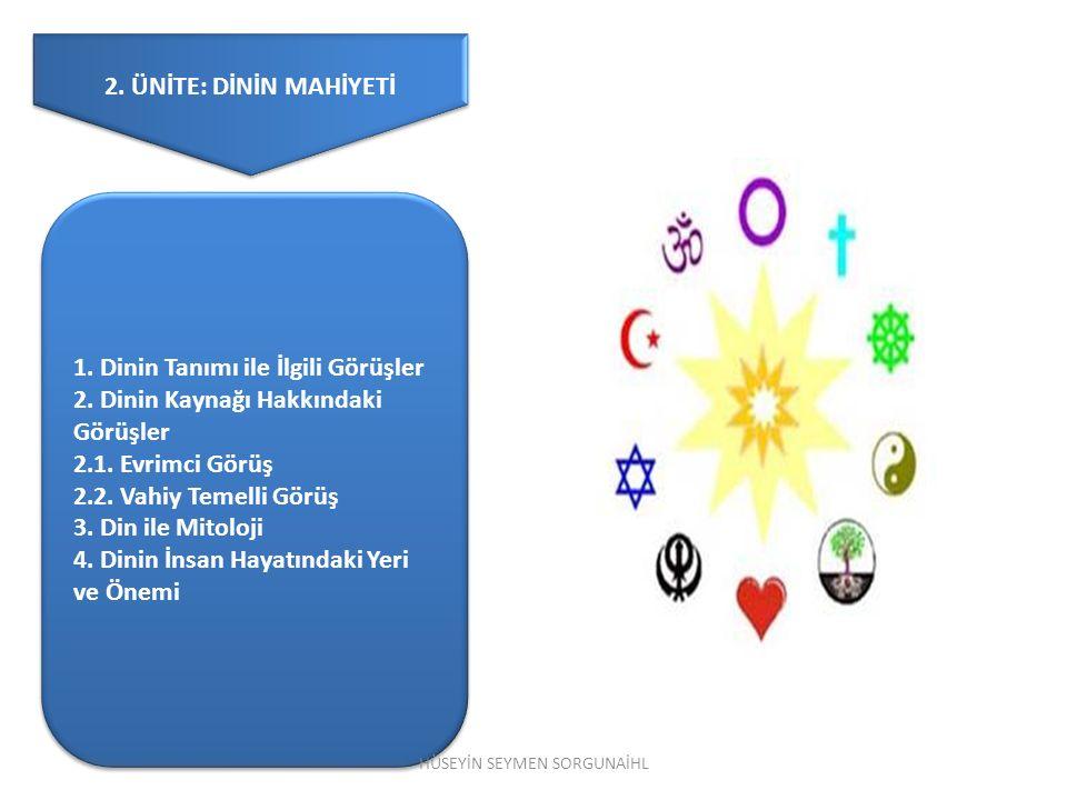 2. ÜNİTE: DİNİN MAHİYETİ 1. Dinin Tanımı ile İlgili Görüşler 2. Dinin Kaynağı Hakkındaki Görüşler 2.1. Evrimci Görüş 2.2. Vahiy Temelli Görüş 3. Din i