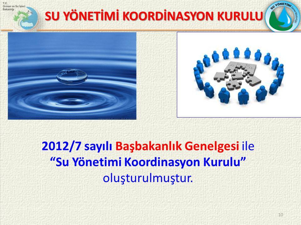 10 SU YÖNETİMİ KOORDİNASYON KURULU 2012/7 sayılı Başbakanlık Genelgesi ile Su Yönetimi Koordinasyon Kurulu oluşturulmuştur.