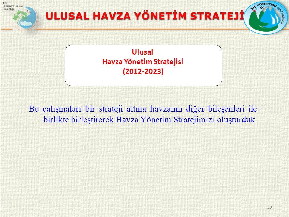 39 ULUSAL HAVZA YÖNETİM STRATEJİSİ Ulusal Havza Yönetim Stratejisi (2012-2023) Bu çalışmaları bir strateji altına havzanın diğer bileşenleri ile birlikte birleştirerek Havza Yönetim Stratejimizi oluşturduk