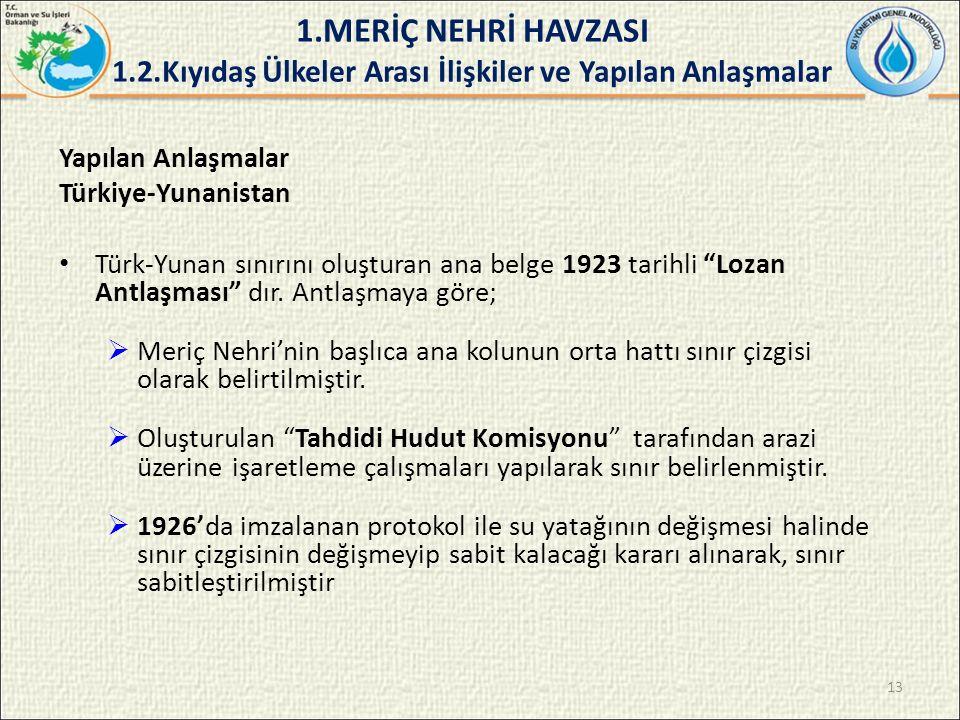 Yapılan Anlaşmalar Türkiye-Yunanistan Türk-Yunan sınırını oluşturan ana belge 1923 tarihli Lozan Antlaşması dır.