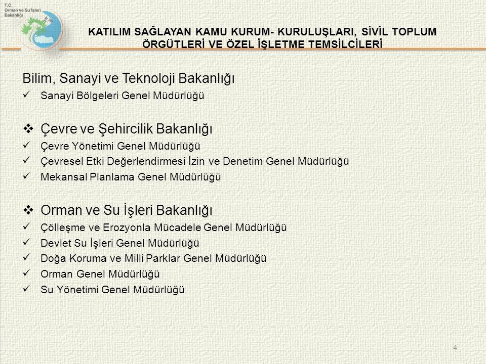  Gıda Tarım ve Hayvancılık Bakanlığı (Balıkçılık ve Su Ürünleri Genel Müdürlüğü) (Bitkisel Üretim Genel Müdürlüğü) (Tarım İşletmeleri Genel Müdürlüğü) (Tarım Reformu Genel Müdürlüğü) (Tarımsal Araştırmalar ve Politikalar Genel Müdürlüğü)  Kültür ve Turizm Bakanlığı Yatırım ve İşletmeler Genel Müdürlüğü  Türk Mimarlar ve Mühendisler Odası Birliği Çevre Mühendisleri Odası Elektrik Mühendisleri Odası Ziraat Mühendisleri Odası İnşaat Mühendisleri Odası 5