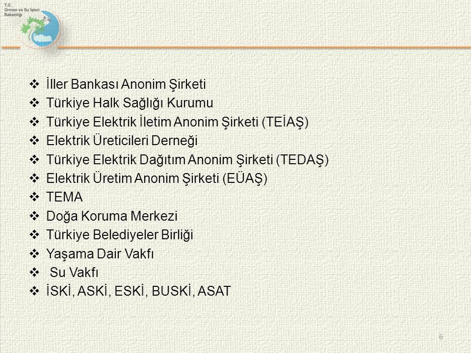  İller Bankası Anonim Şirketi  Türkiye Halk Sağlığı Kurumu  Türkiye Elektrik İletim Anonim Şirketi (TEİAŞ)  Elektrik Üreticileri Derneği  Türkiye Elektrik Dağıtım Anonim Şirketi (TEDAŞ)  Elektrik Üretim Anonim Şirketi (EÜAŞ)  TEMA  Doğa Koruma Merkezi  Türkiye Belediyeler Birliği  Yaşama Dair Vakfı  Su Vakfı  İSKİ, ASKİ, ESKİ, BUSKİ, ASAT 6