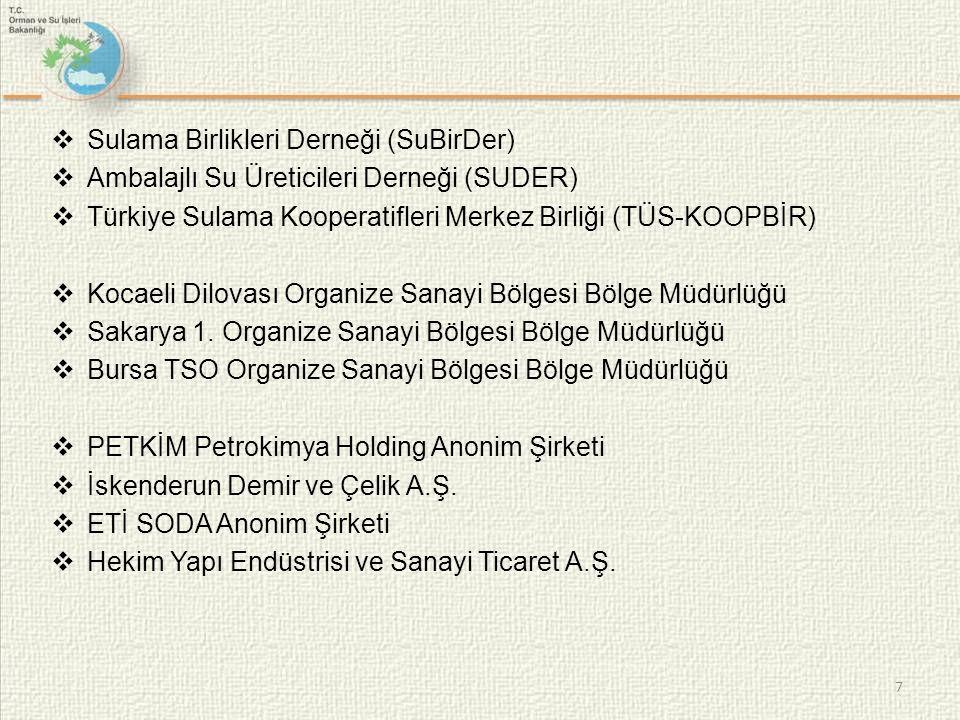  Sulama Birlikleri Derneği (SuBirDer)  Ambalajlı Su Üreticileri Derneği (SUDER)  Türkiye Sulama Kooperatifleri Merkez Birliği (TÜS-KOOPBİR)  Kocaeli Dilovası Organize Sanayi Bölgesi Bölge Müdürlüğü  Sakarya 1.