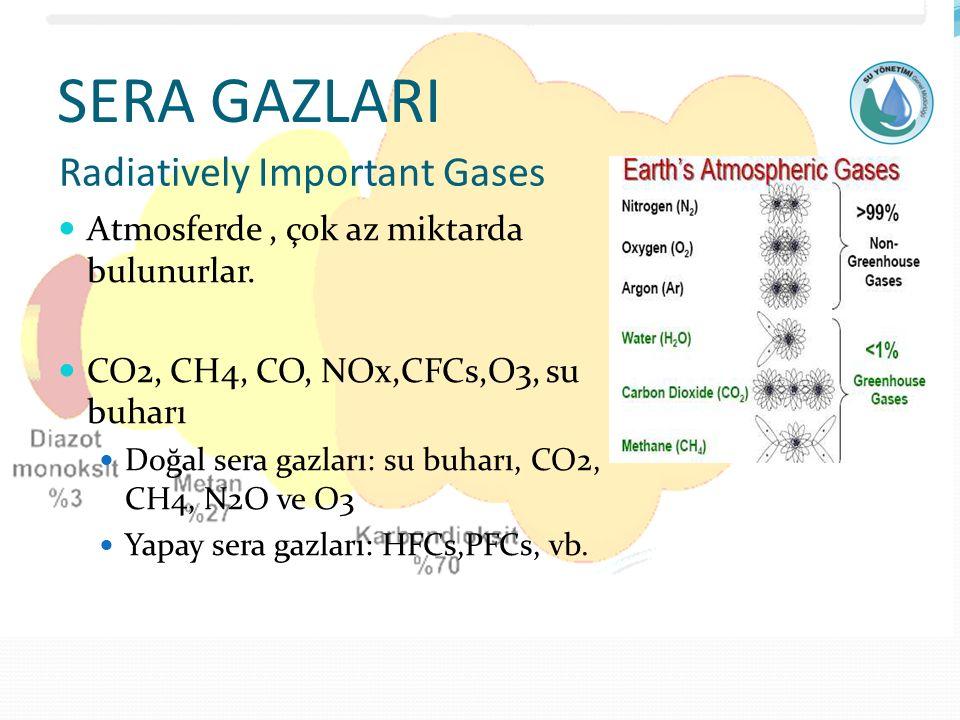 SERA GAZLARI Atmosferde, çok az miktarda bulunurlar. CO2, CH4, CO, NOx,CFCs,O3, su buharı Doğal sera gazları: su buharı, CO2, CH4, N2O ve O3 Yapay ser
