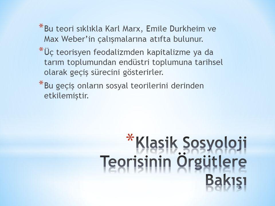 * Bu teori sıklıkla Karl Marx, Emile Durkheim ve Max Weber'in çalışmalarına atıfta bulunur.