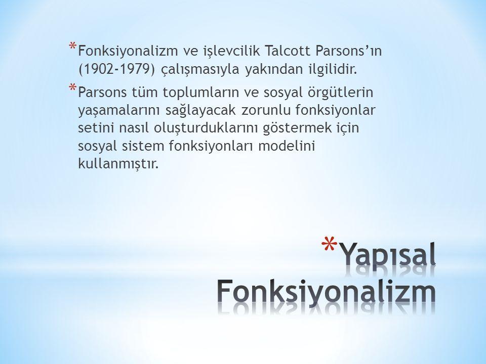 * Fonksiyonalizm ve işlevcilik Talcott Parsons'ın (1902-1979) çalışmasıyla yakından ilgilidir.